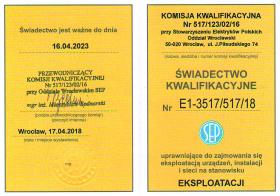 świadectwo kwalifikacyjne elektryków 2018