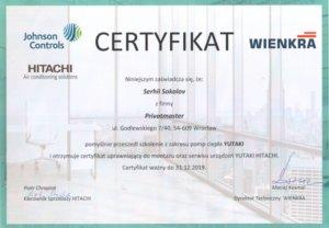 Certyfikat Hitachi z zakresu pomp ciepła