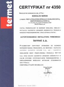 Certyfikat Termet Privatmaster 2021