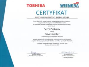 Sertyfikat Klimatyzacja Toshiba Privatmaster 2019