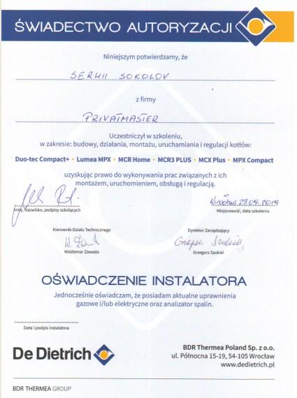 Certyfikat DiDitrich Privatmaster Wrocław