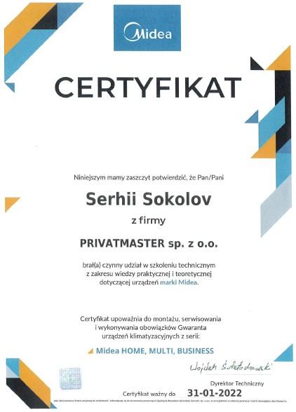 Certyfikat Midea Privatmaster Wrocław 2021