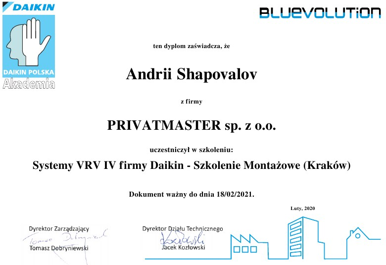 Certyfikat Daikin Privatmaster 2020