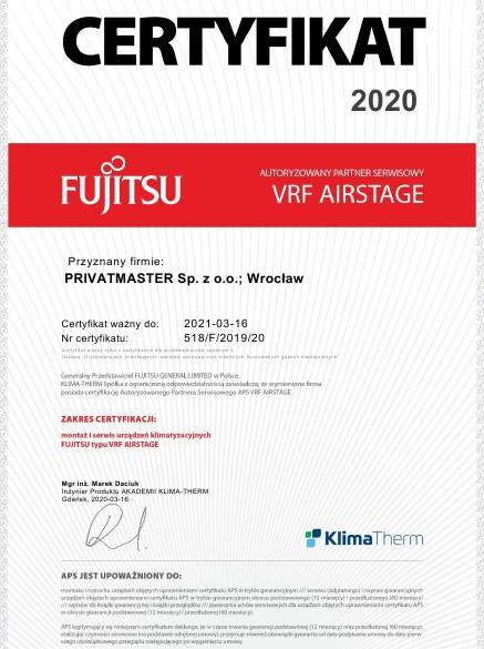 Certyfikat Fujitsu VRF 2020