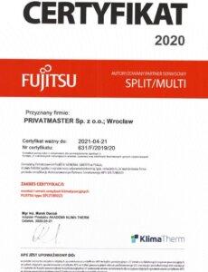 Certyfikat Fujitsu Split Privatmaster 2020