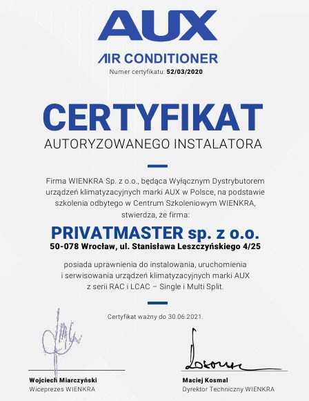 Certyfikat Sevra Privatmaster 2020
