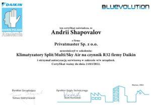 Certyfikat klimatyzatory Daikin Split Sky Multi 2021 Privatmaster