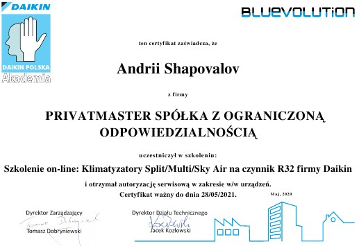 Certyfikat Klimatyzatory Daikin Split_2020 Privatmaster