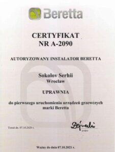 Certyfikat Beretta kotly Privatmaster