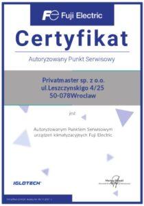 Certyfikat Fuji Electric Privatmaster 2021