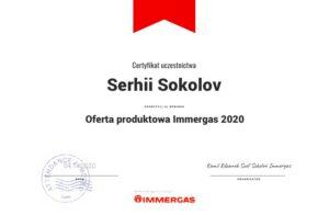 Certyfikat Immergas Privatmaster 2020