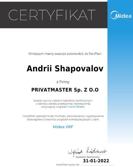 Certyfikat Midea VRF Privatmaster 2021