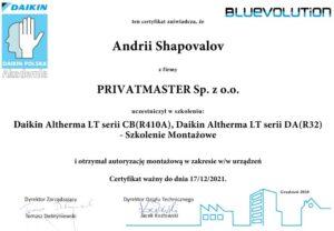 Certyfikat Daikin Altherma Pompa ciepła Privatmaster 2021