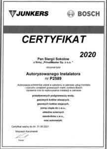 Certyfikat Junkers Bosch Privatmaster 2021