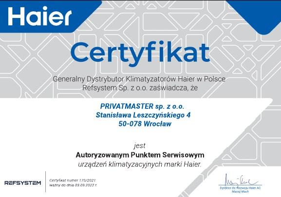 Certyfikat Haier Privatmaster Wrocław