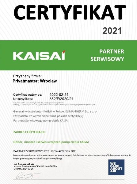 Certyfikat Kaisai Pompa ciepla 2021