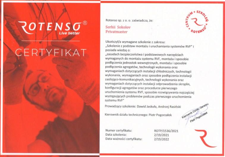 Certyfikat Rotenso Privatmaster 2021