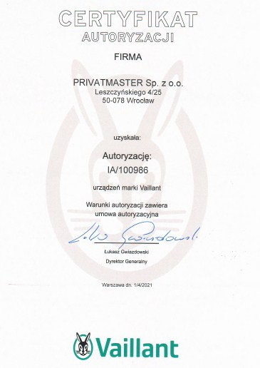 Certyfikat Vaillant Privatmaster 2021